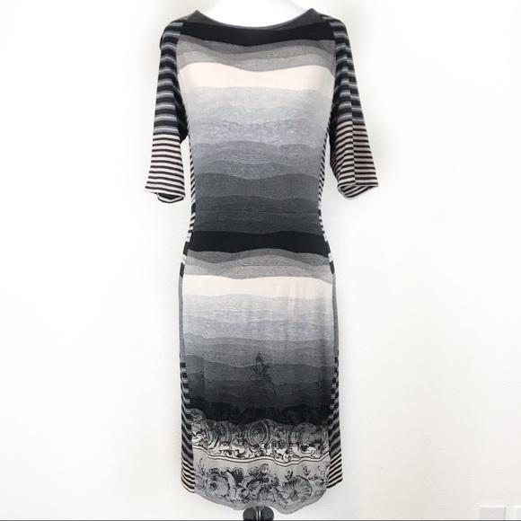 Desigual Dresses & Skirts - Desigual Body Con Fine Knit Dress Abstract Stripes